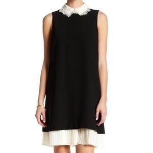 Nanette Lepore Lace Collar Pleated Hem Shift Dress